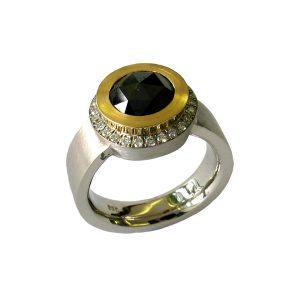 Verlobungsring Palladium, schwarze Diamantrose in Gold Zarge