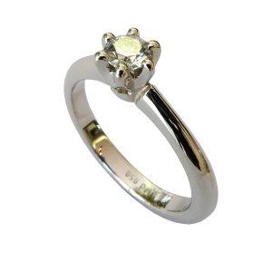 Verlobungsring 950/... Palladium, Diamant in Krappenfassung
