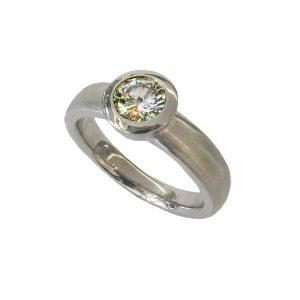 Verlobungsringe 750/... Weißgold, Diamant in Zargenfassung