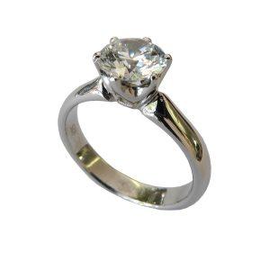 Verlobungsring in Weißgold Diamant in Krappenfassung