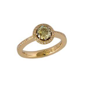 Verlobungsring Rosegold gelber Diamant
