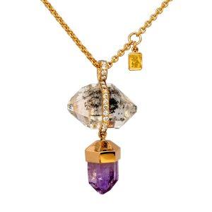 Collier 750/.. rot Gold mit Herkimer Kristall, Amethyst und Diamanten im Verschnitt gefasst.